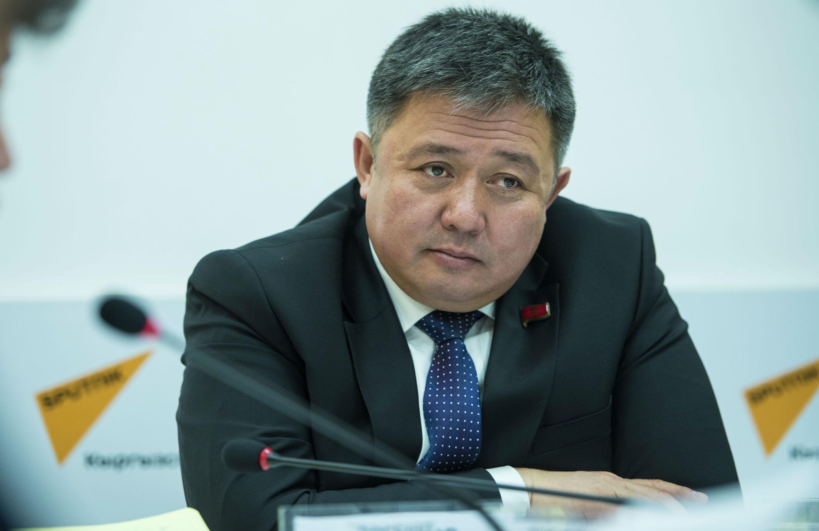 Депутат Жогорку Кенеша Алмазбек Эргешов во время круглого стола в мультимедийном пресс-центре Sputnik Кыргызстан