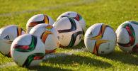 Футбольные мячи на газоне. Архивное фото
