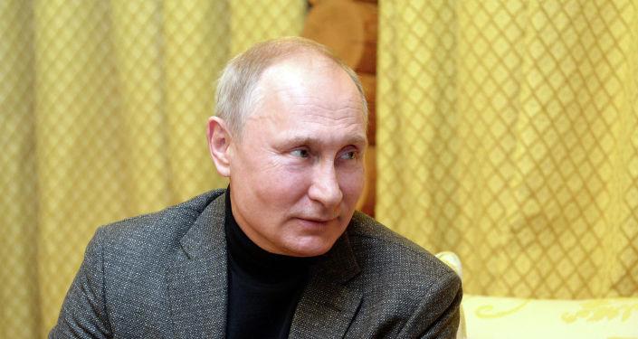 Глава РФ Владимир Путин во время неформальной встречи с президентом КР Сооронбаем Жээнбековым в Сочи