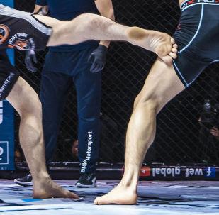 Бойцы на соревнованиях по боям без правил. Архивное фото