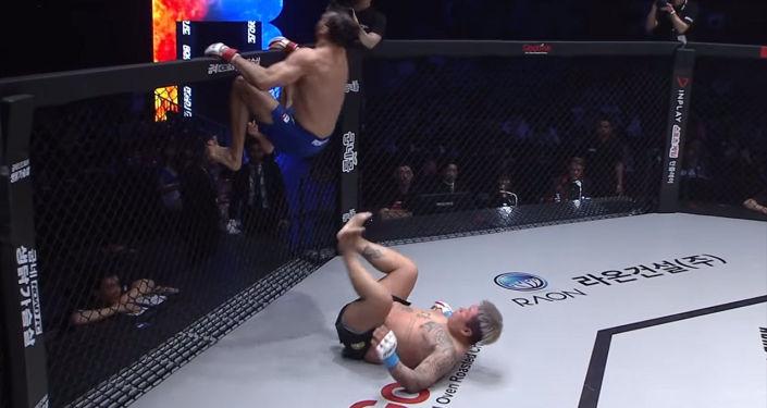 Зрелищный бой в стиле ниндзя показал бразильский боец Мишель Перейра на международном турнире Road FC 52 в южнокорейском Сеуле.