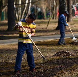 Дворники убирают мусор в парке. Архивное фото