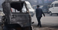 Тушение  крупного пожара на западе Бишкека