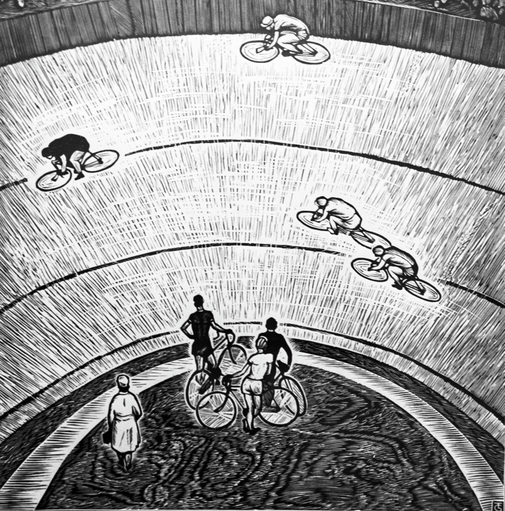 Линогравюра Велотрек. Художник Т.Г. Герцен (1935 г. р.). 1971 год. Всесоюзная выставка Физкультура и спорт в изобразительном искусстве.