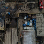 Последствия крупного пожара по улице Фрунзе с высоты. 15 марта 2019 года