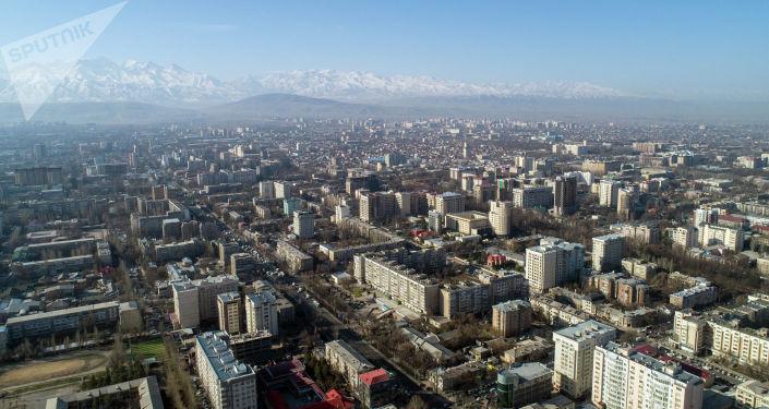Вид на город Бишкек с высоты птичьего полета. Архивное фото