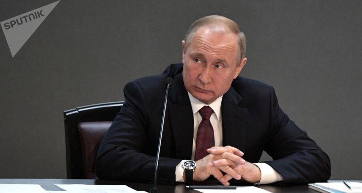 Президент РФ Владимир Путин на ежегодном расширенном заседании коллегии министерства внутренних дел РФ.
