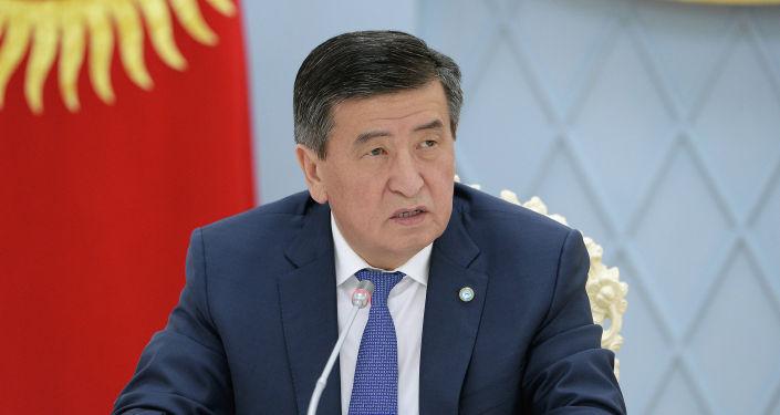 Президент КР Сооронбай Жээнбеков на совещании по ситуации на кыргызско-таджикской границе
