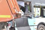 Последствия массового ДТП с участием трех автобусов, легкового автомобиля и кареты скорой помощи.