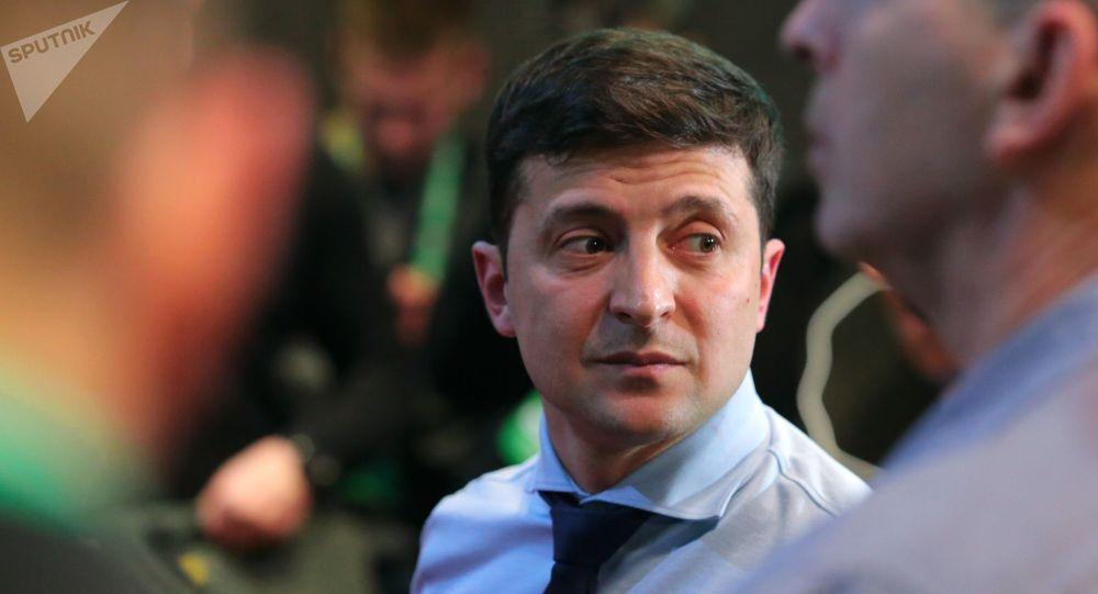 Кандидат в президенты Украины, актер Владимир Зеленский в своем избирательном штабе в Киеве.