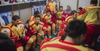 Кыргызстан хоккей курама командасынын оюнчулары. Архив