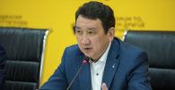 Глава Федерации хоккея КР Анвар Оморканов на пресс-конференции в мультимедийном пресс-центре Sputnik Кыргызстан