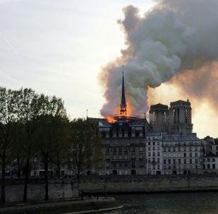 Пожар в здании собора Парижской Богоматери
