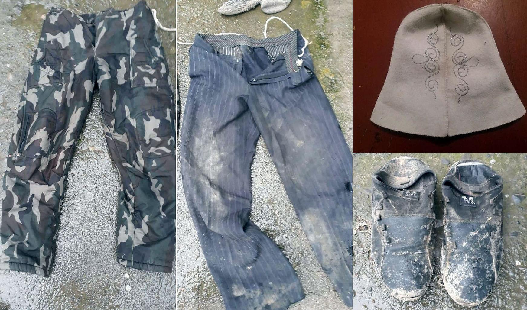 Одежда умершего мужчины, предоставленный милицией для опознания