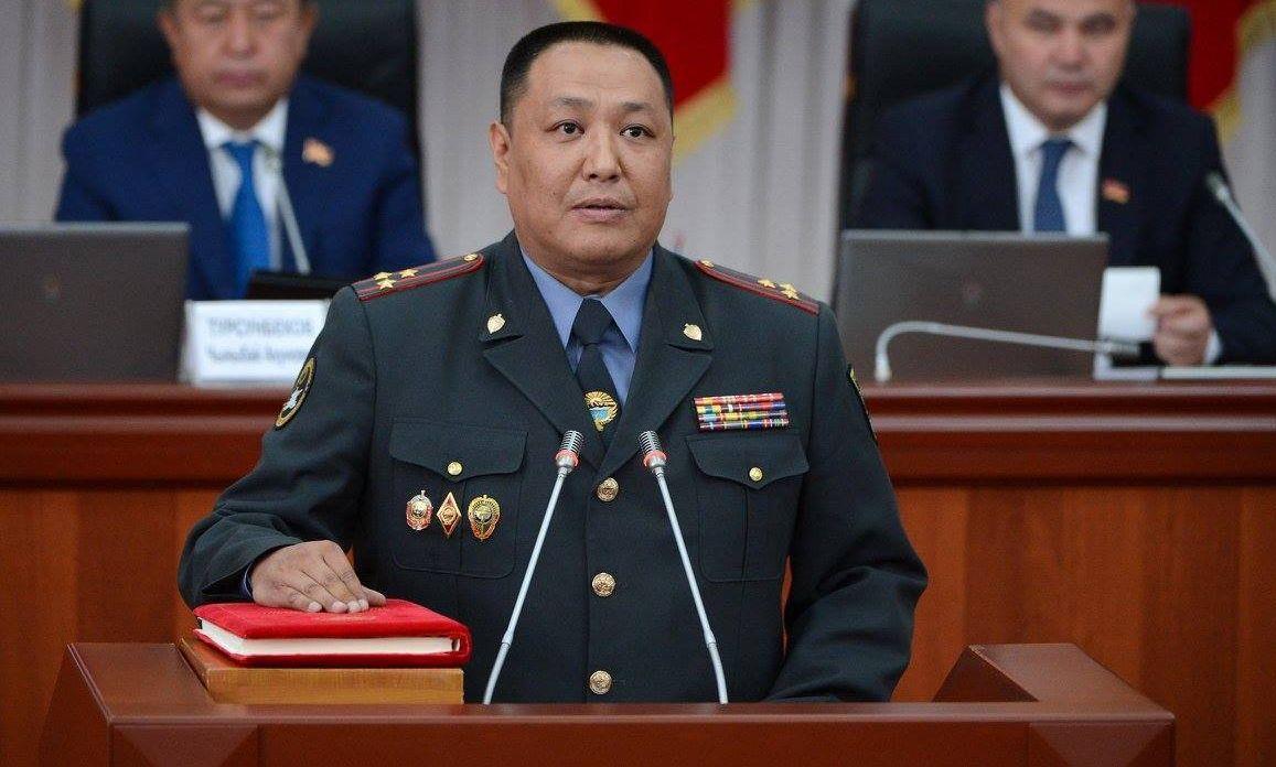 Министр внутренних дел Кыргызской Республики Улан Исраилов во время принесения присяги новыми членами правительства КР