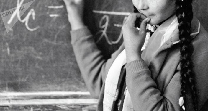 Ученица сельской школы решает уравнение у доски. Архивное фото
