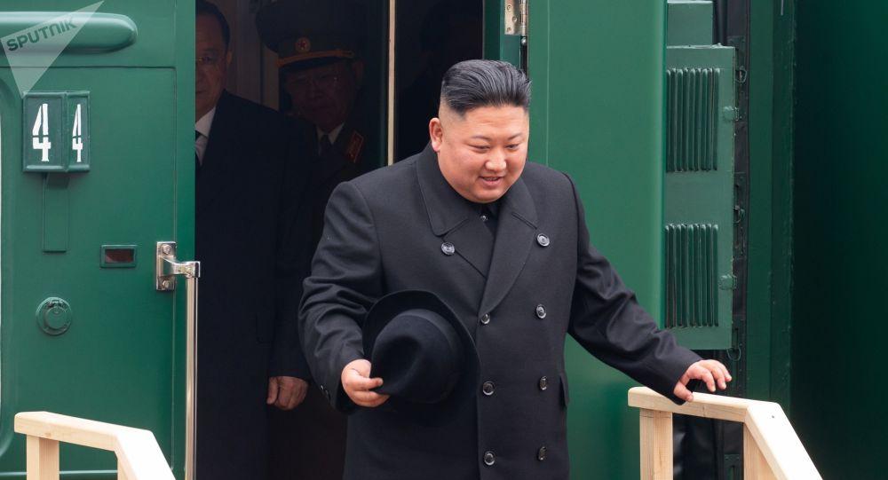 Лидер КНДР Ким Чен Ын на станции Хасан в Приморском крае. Изображение является раздаточным материалом, предоставлено третьей стороной. Только редакционное использование. Запрет на архивирование, коммерческое использование, рекламную кампанию.