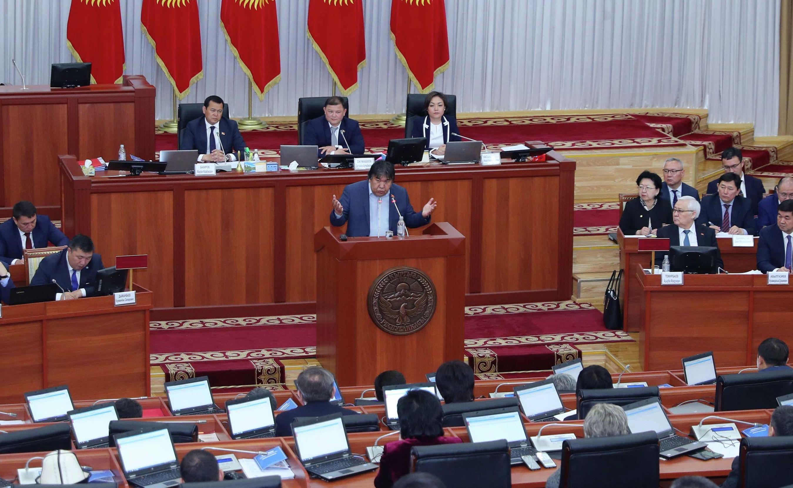 Депутат Садык Шер-Нияз на заседании Жогорку Кенеша о рассмотрении отчета деятельности Правительства за 2018 год