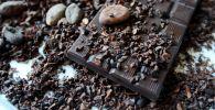 Какао бобы и какао-крупка на плитке шоколада. Архивное фото