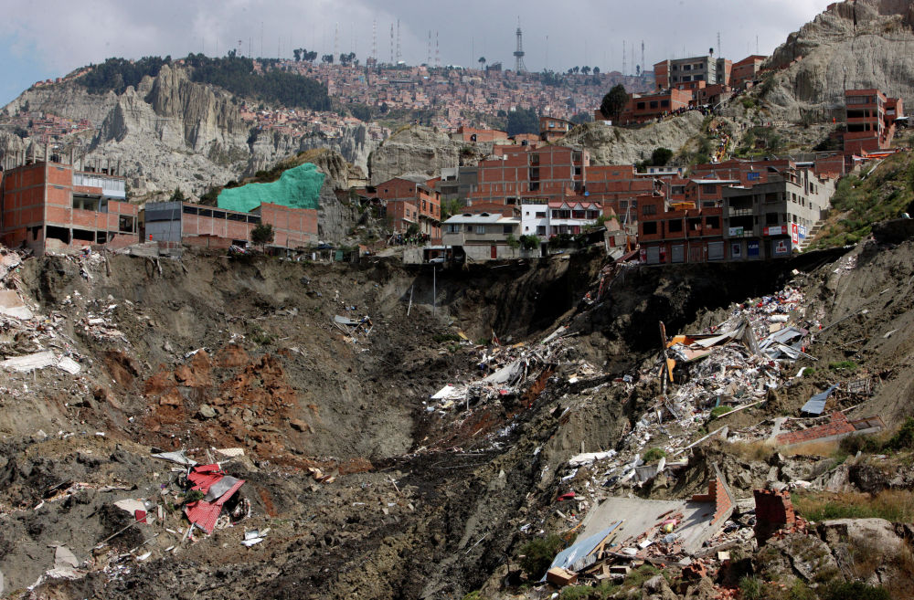 Боливиядагы жер көчкүнүн кесепети