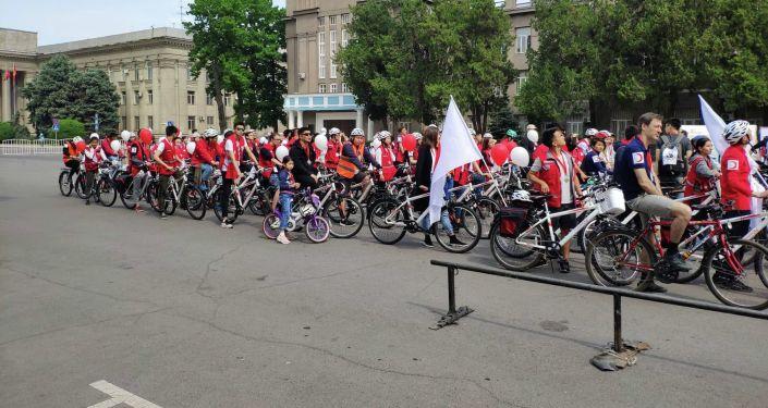 Благотворительный велопробег, проехавшие от парка Победы до Старой площади в Бишкеке