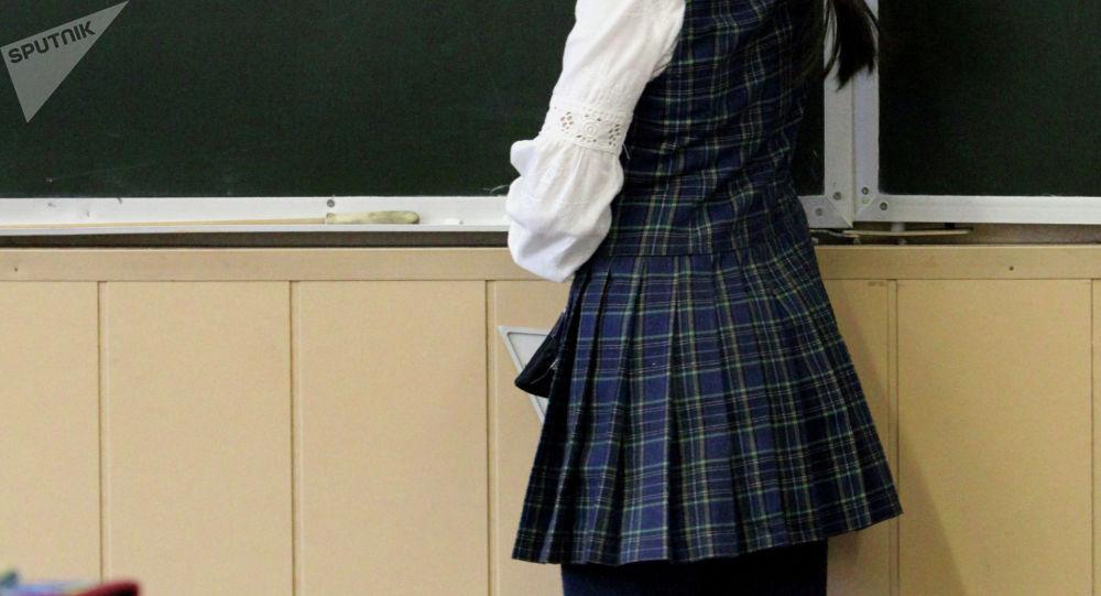 Ученица у доски. Архивное фото