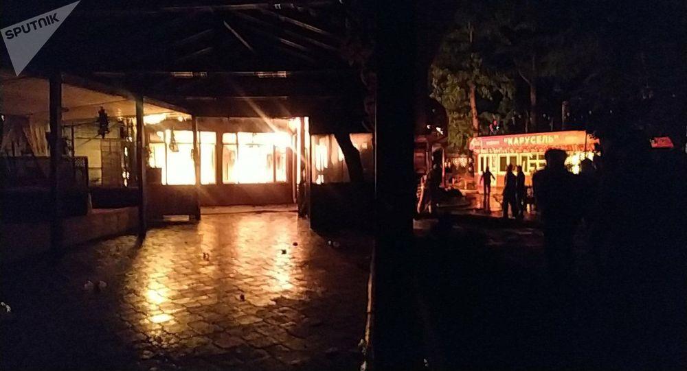 Пожар в кафе в парке Панфилова