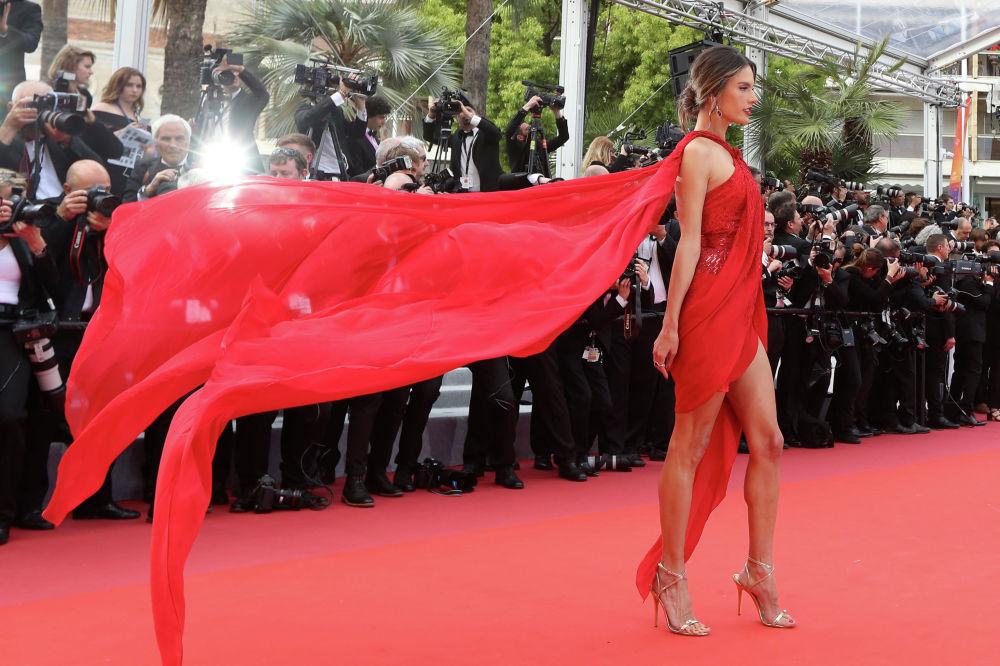 Бразильская супермодель и актриса Алессандра Амбросио на премьере фильма Отверженные на 72-м Каннском международном кинофестивале