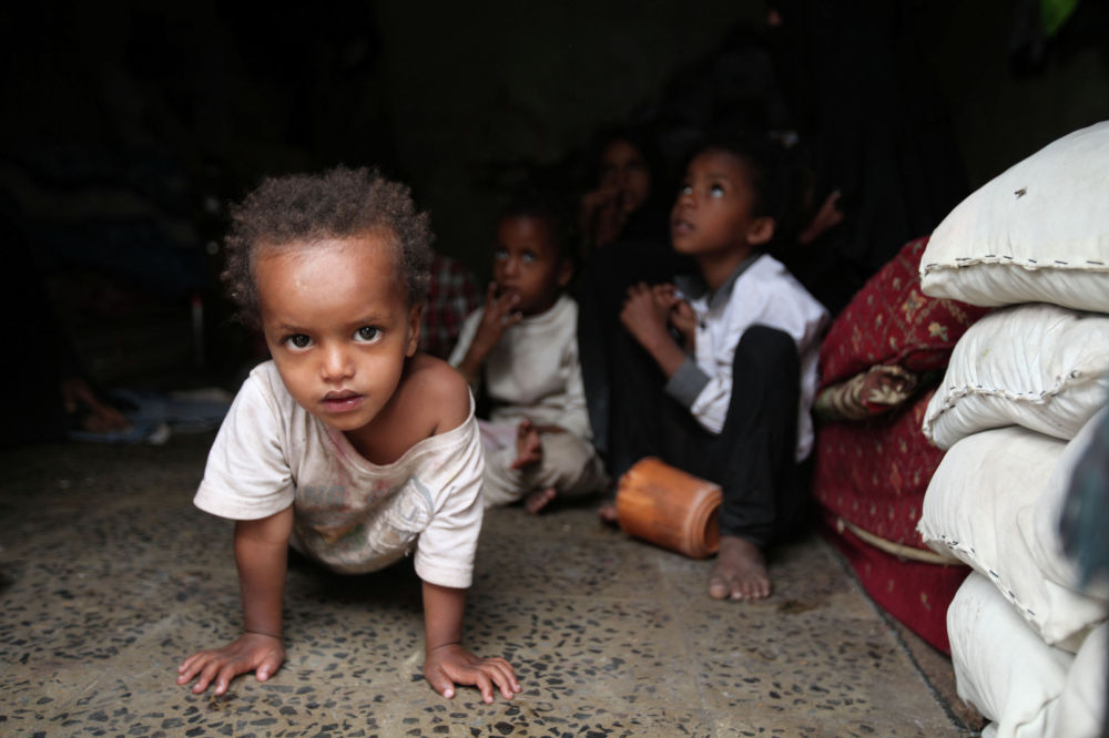 Дети, перевезенные из города Ходейда в приюте в Сане (Йемен)