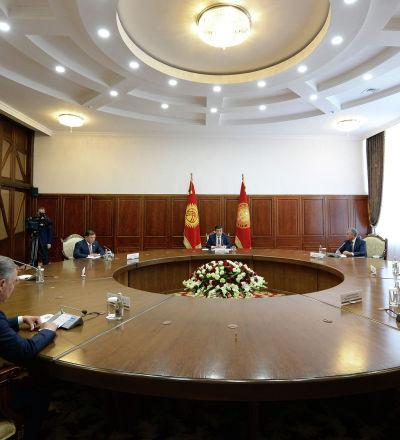 Президент Кыргызской Республики Сооронбай Жээнбеков встретился с участниками выездного заседания Совета Парламентской Ассамблеи ОДКБ. 20 мая 2019 года