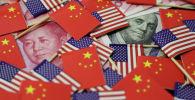 Долларовая банкнота США с изображением американского отца-основателя Бенджамина Франклина и китайская банкнота в юанях с изображением покойного китайского председателя Мао Цзэдуна. 20 мая 2019 года