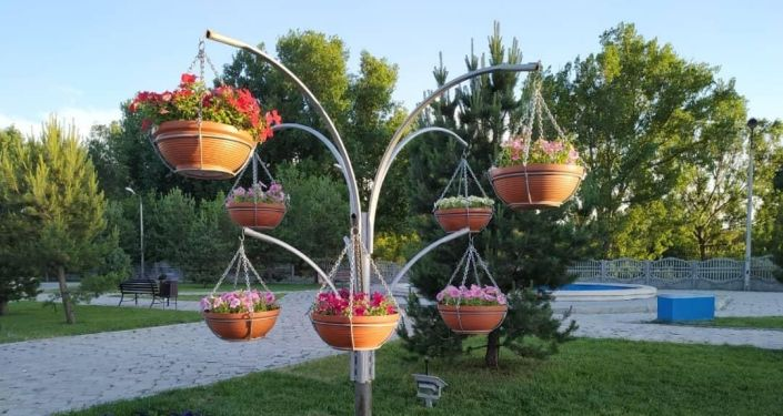 В Бишкеке появились железные конструкции с цветочными горшками, напоминающие вешалки