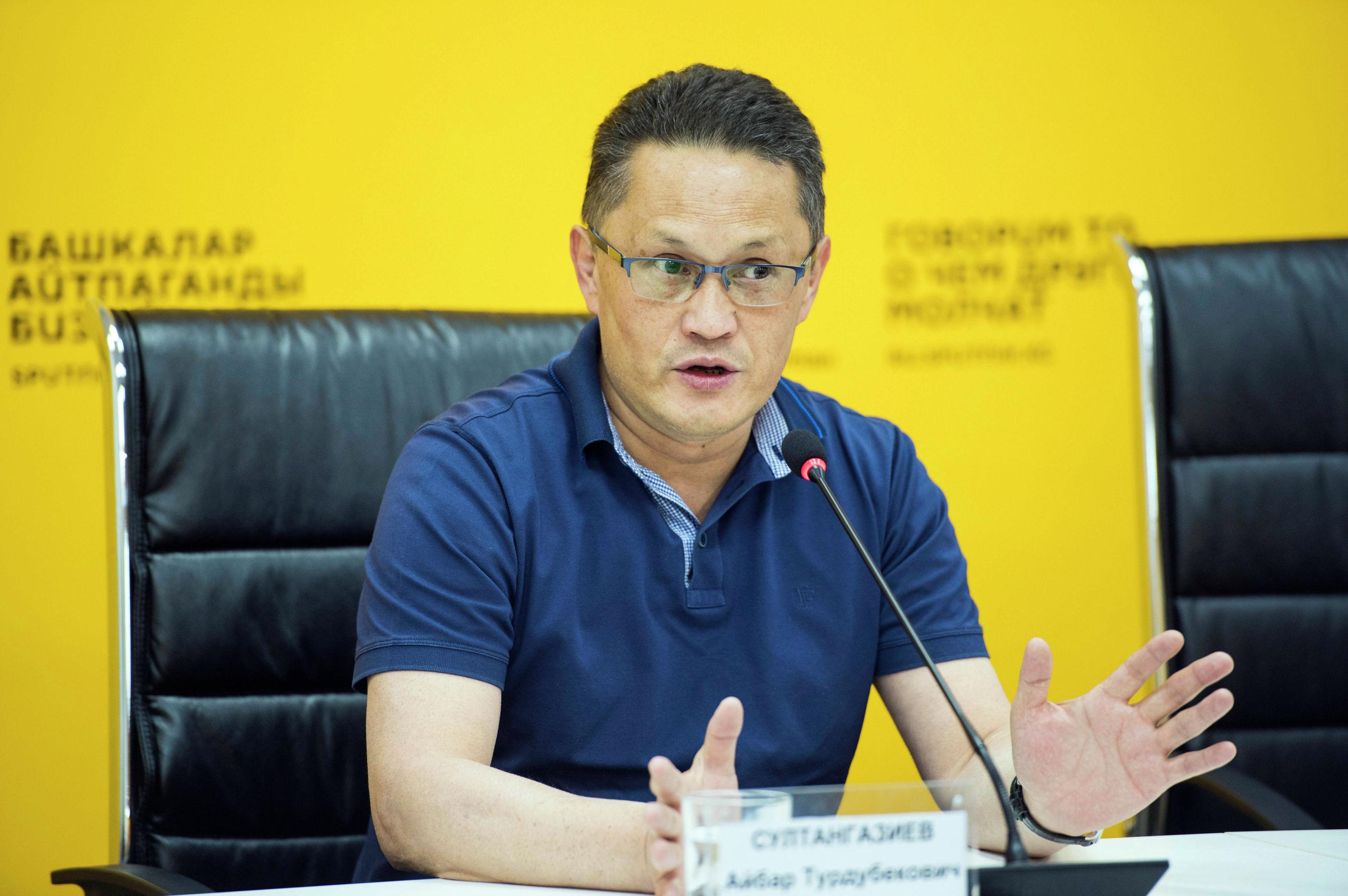 Директор ассоциации Партнерская сеть Айбар Султангазиев на пресс-конференции в мультимедийном пресс-центре Sputnik.