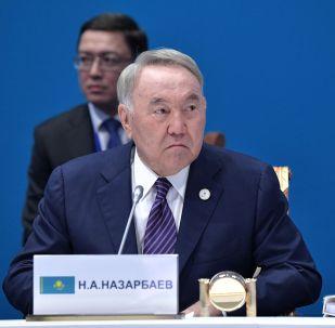 Глава Совета безопасности Казахстана и председатель правящей партии Нур Отан, почетный председатель ВЕЭС Нурсултан Назарбаев во время заседания Высшего Евразийского экономического совета, приуроченном к пятилетию подписания Договора о Евразийском экономическом союзе, во Дворце независимости в Нур-Султане.