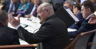 Президент Белоруссии Александр Лукашенко на заседании Высшего Евразийского экономического совета и глав приглашенных государств во Дворце независимости в Нур-Султане