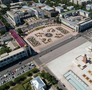 Вид на центральный площадь Ала-Тоо в Бишкеке с высоты