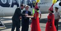 В аэропорту Оша торжественно встретили первый рейс Алматы — Ош — Алматы авиакомпании QAZAQ Air. 7 июня 2019 года