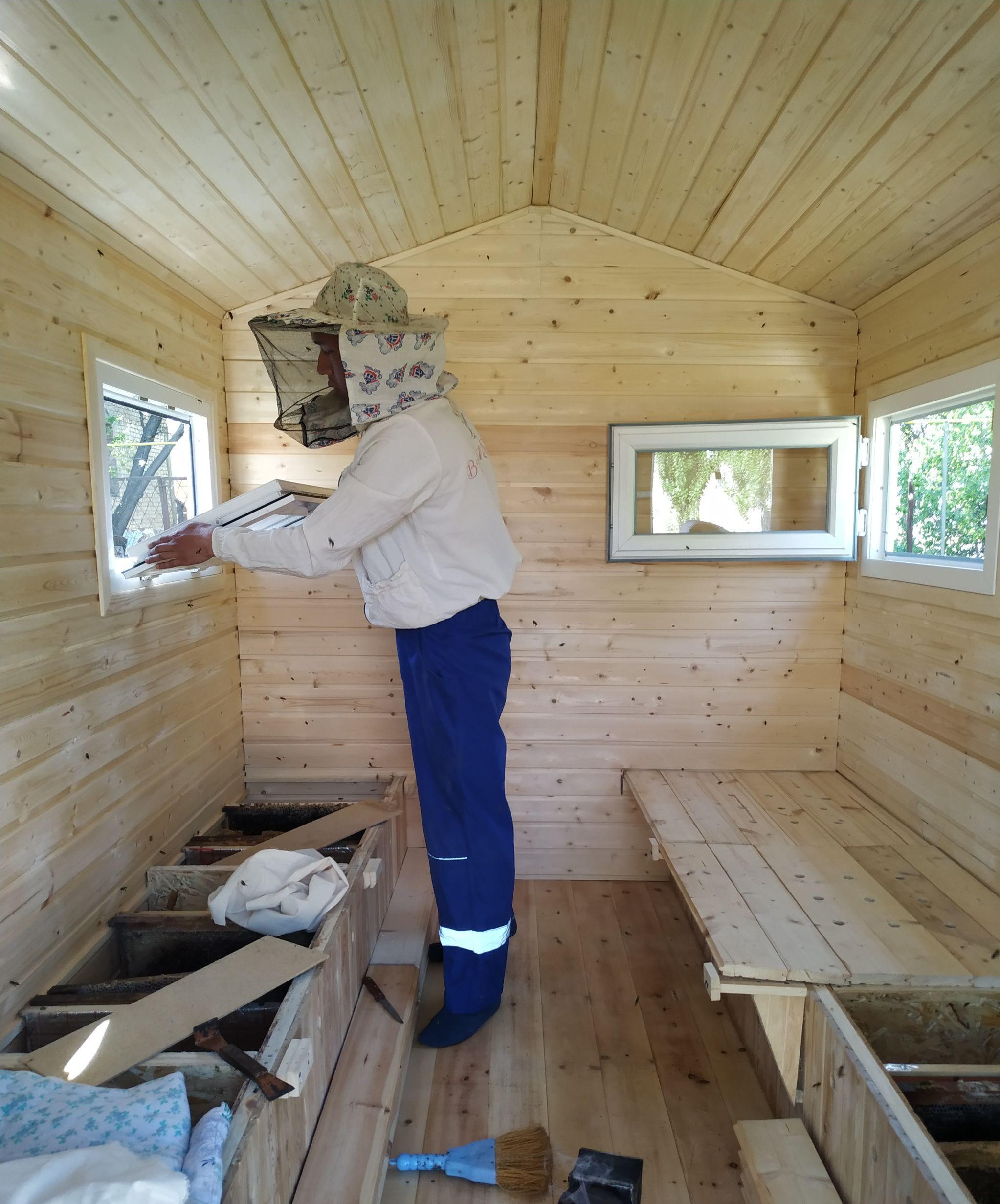 Студент Тилек Жумабеков, занимающийся производством меда