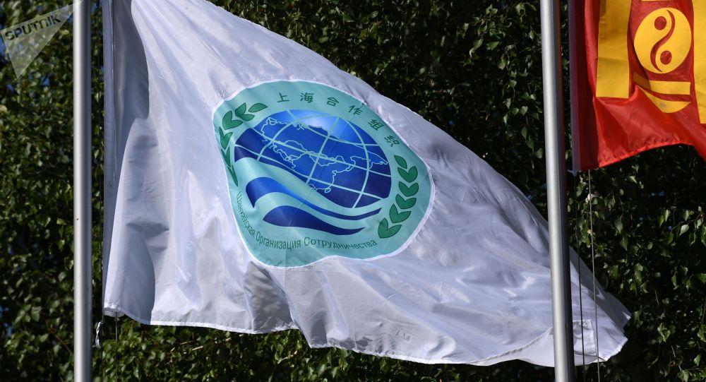 Флаг с эмблемой саммита ШОС. Архивное фото