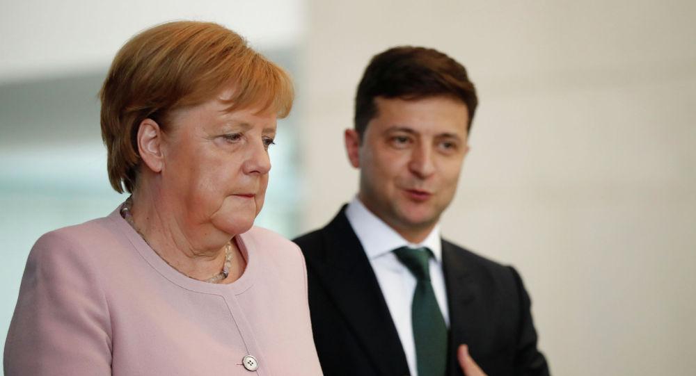 Германия канцлери Ангела Меркель Украина президенти Владимир Зеленский менен жолугушуу учурунда