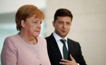 Канцлер Германии Ангела Меркель и Президент Украины Зеленский на пресс-конференции в Берлине, Германия, 18 июня 2019 года