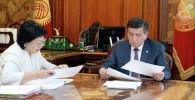 Сооронбай Жээнбеков бүгүн, 21-июнда, өлкөнүн финансы министри Бактыгүл Жээнбаеваны кабыл алды.