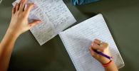 Ученик 6-го класса делает записи во время урока английского языка в начальной школе. Архивное фото