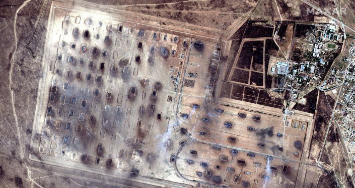 Вид склада боеприпасов после взрывов в городе Арысь на юге Казахстана. 25 июня 2019 года