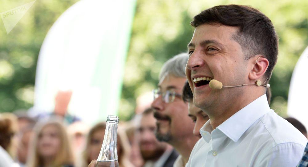 Президент Украины Владимир Зеленский на съезде партии Слуга народа в Киеве.
