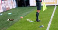Бутылки на футбольном поле. Архивное фото
