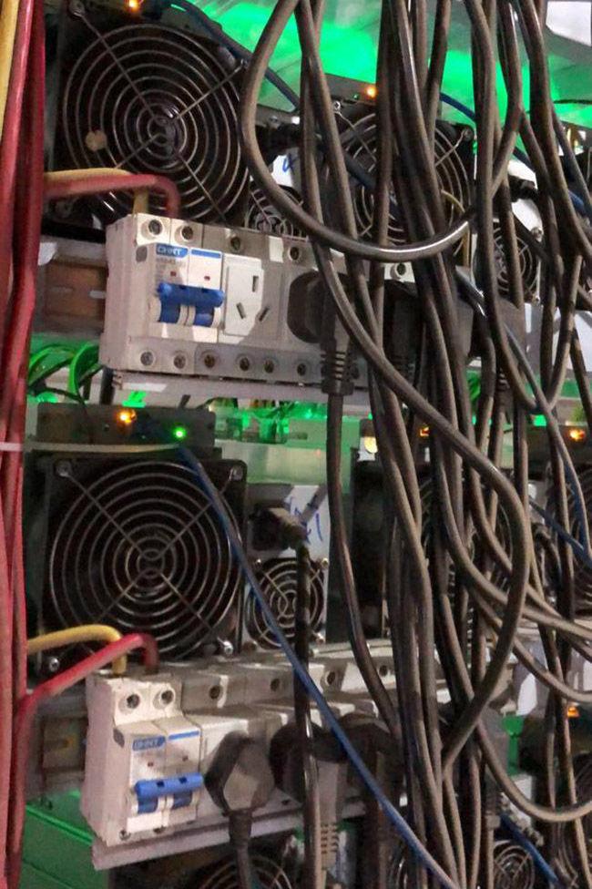 Выявленная незаконная майнинг-ферма, представляющая собой оборудование для добычи криптовалюты в Бишкеке