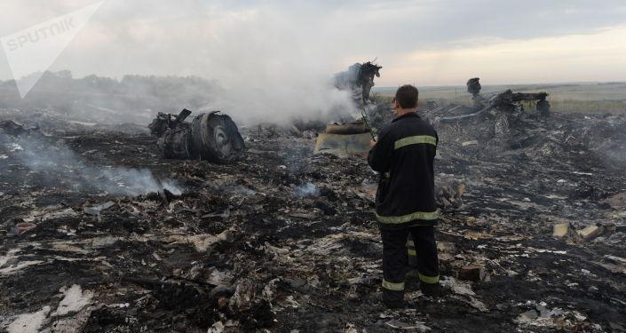 На месте крушения малайзийского самолета Boeing 777 в районе города Шахтерск Донецкой области.