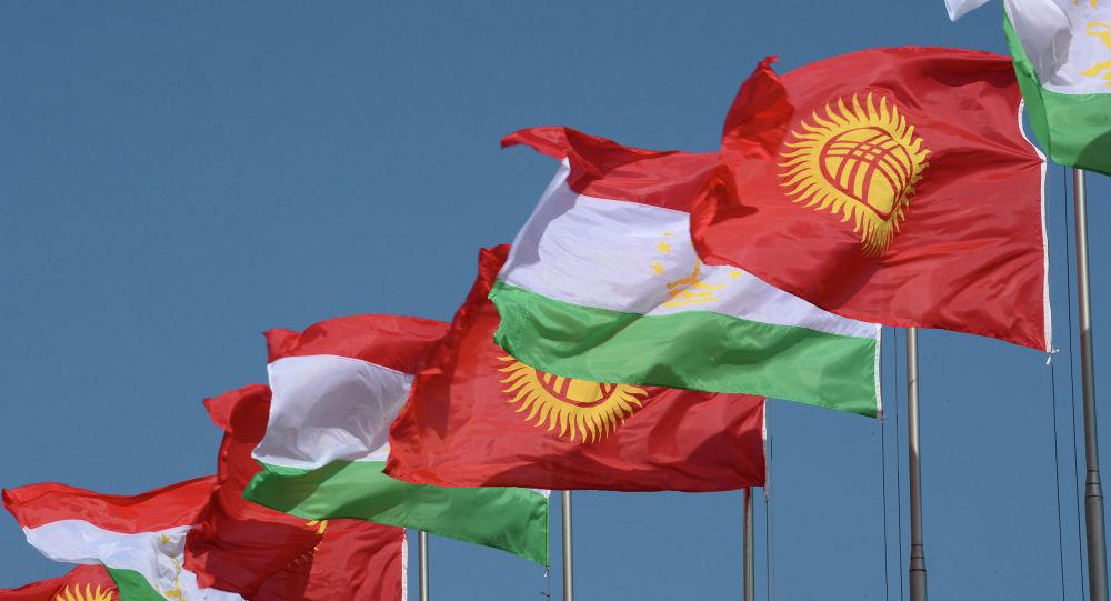 Кыргызстан жана Тажикистандын желеги. Архивдик сүрөт