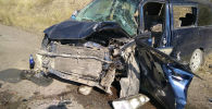 Последствия ДТП с Honda Stepwgn и Honda Accord на перевале Кок-Бел на трассе Бишкек — Ош